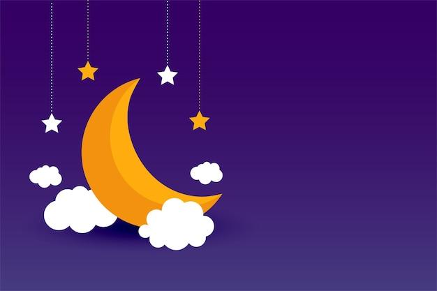 Maan wolken en sterren paars achtergrondontwerp Gratis Vector