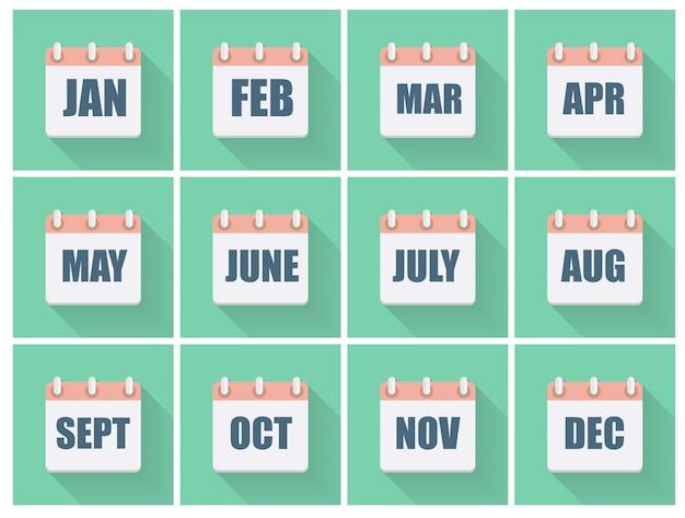 Maand datums platte icon set met lange schaduw. illustratie Premium Vector