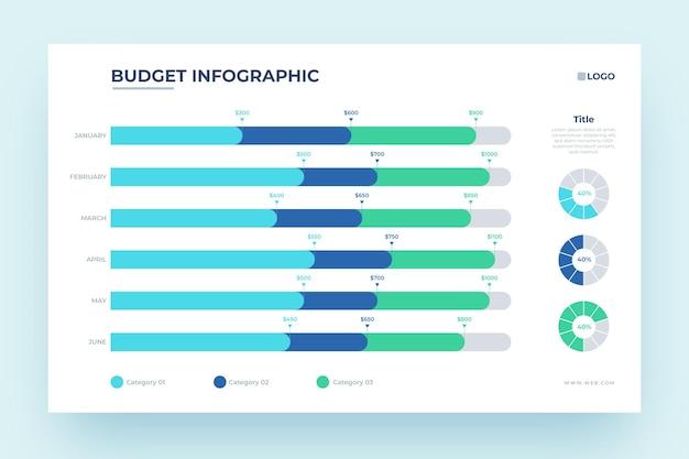 Maandelijks budget infographic ontwerp Gratis Vector