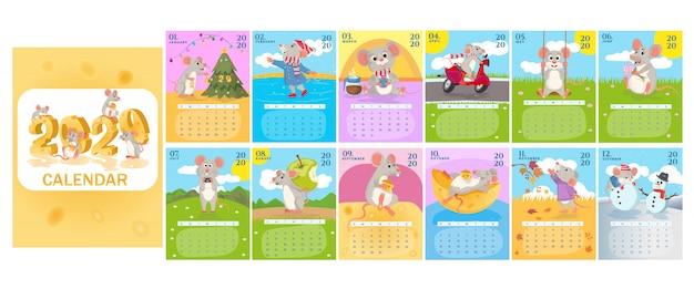 Maandelijkse creatieve kalender 2020 met schattige ratten of muizen. symbool van het jaar in de chinese kalender. Premium Vector
