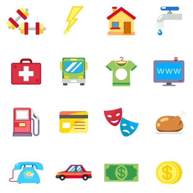 Maandelijkse kosten, kosten plat pictogrammen. telefoon en medisch, internet en voedsel, sportgezondheid, vectorillustratie Gratis Vector