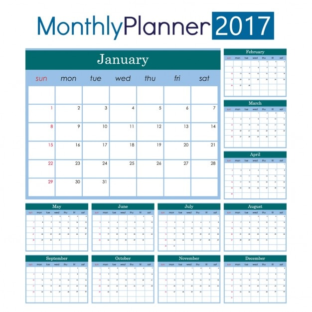 Maandelijkse planner 2017 vector gratis download for Planner casa online gratis