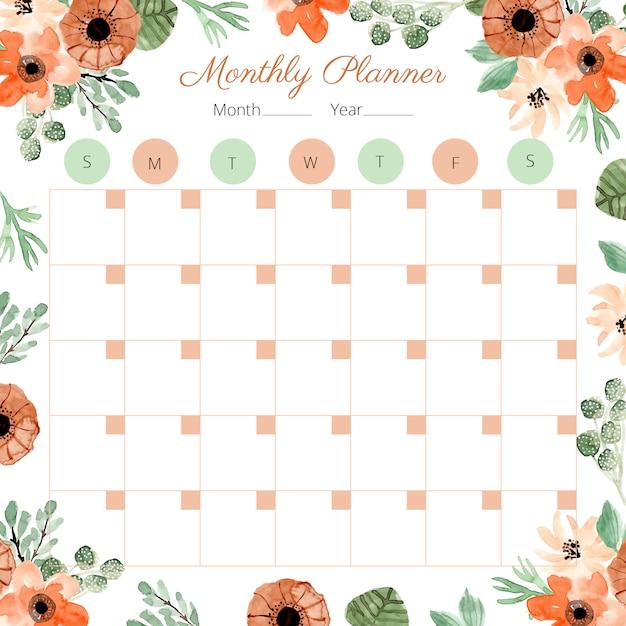 Maandelijkse planner met decoratie bloemenwaterverf Premium Vector