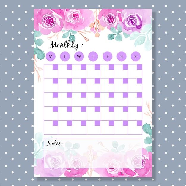 Maandelijkse planner met zachte paarse waterverfbloem Premium Vector