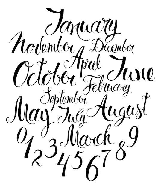 Maanden van het jaar en nummers Gratis Vector