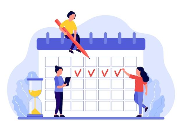 Maandmarkeringen in de menstruatiekalender Premium Vector