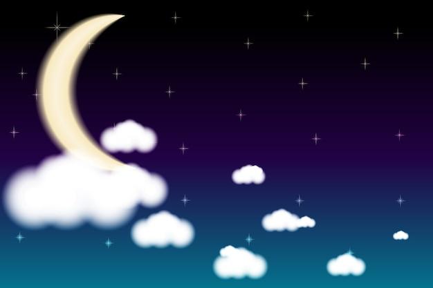 Maanhemel wolken 's nachts Premium Vector