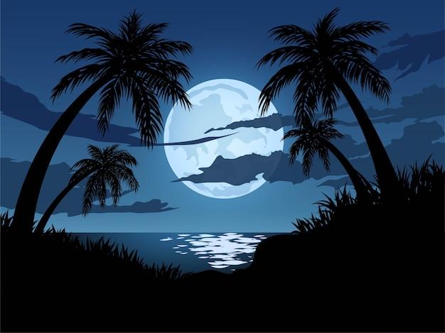 Maanlicht in tropisch strand Premium Vector