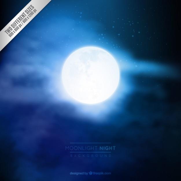 Maanlicht nacht achtergrond Gratis Vector