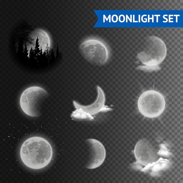 Maanlicht transparante set Gratis Vector