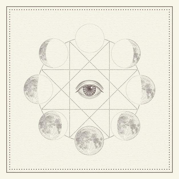 Maanstanden met alziend oog en heilige geometrie Premium Vector