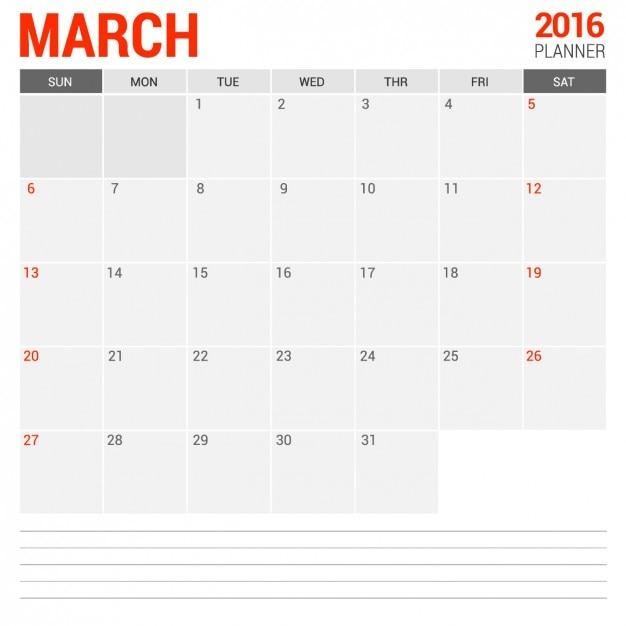 Maart maandelijks tijdschema 2016 Gratis Vector