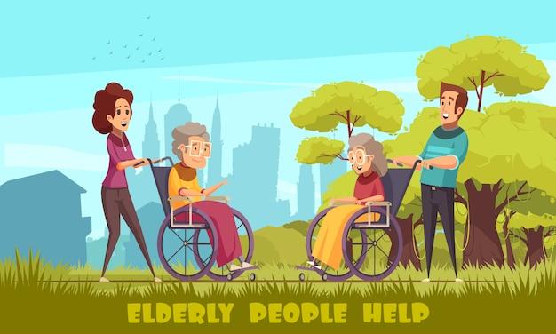 Maatschappelijk werkers kinderdagverblijf vrijwilligers nemen ouderen schakelt mensen in rolstoelen buiten platte cartoon Gratis Vector