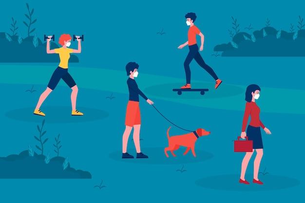 Maatschappelijke afstand en activiteiten in het park Gratis Vector