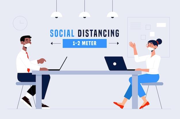 Maatschappelijke afstand in een vergaderconcept Gratis Vector