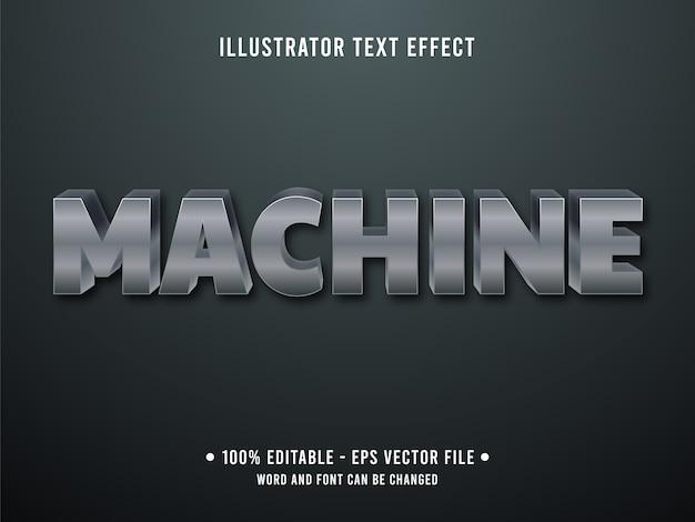 Machine bewerkbaar teksteffect moderne stijl met grijze stalen kleur Premium Vector