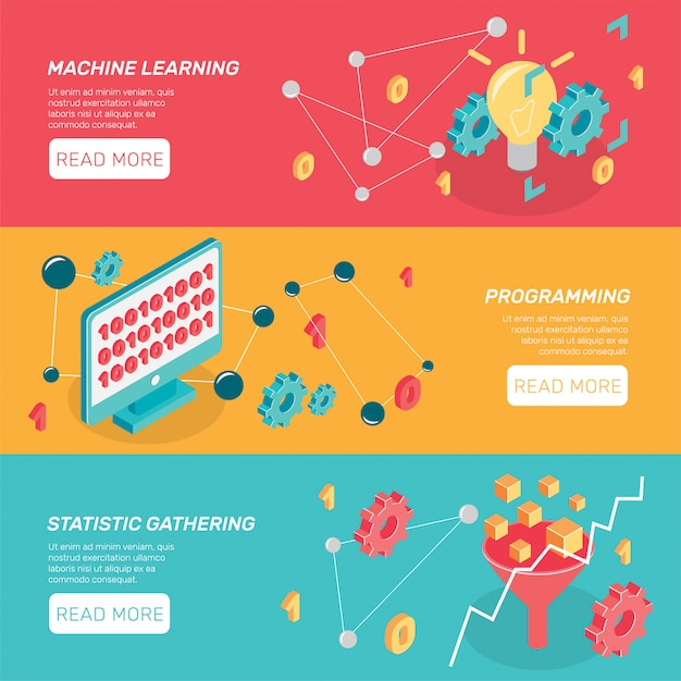Machine learning horizontale banners Gratis Vector