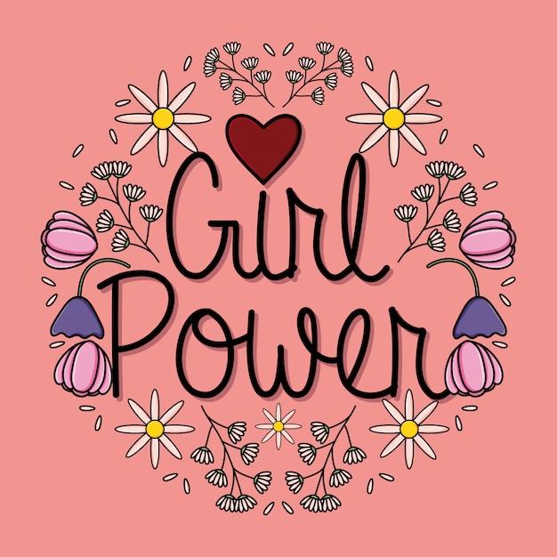 Macht meisje kaart met florale decoratie Premium Vector
