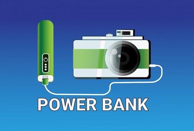 Machtsbanken die camera laden draagbaar mobiel batterijladerconcept Premium Vector