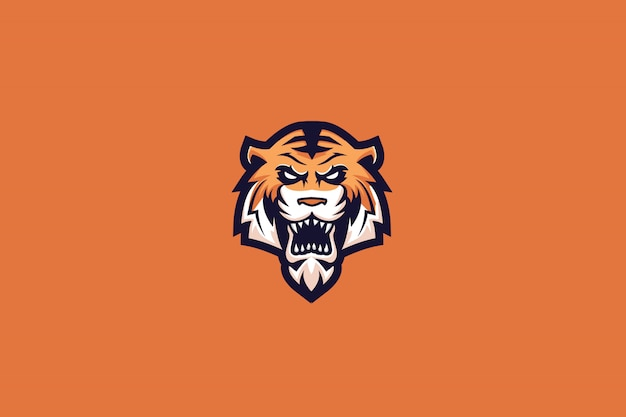 Mad tiger e sports-logo Premium Vector