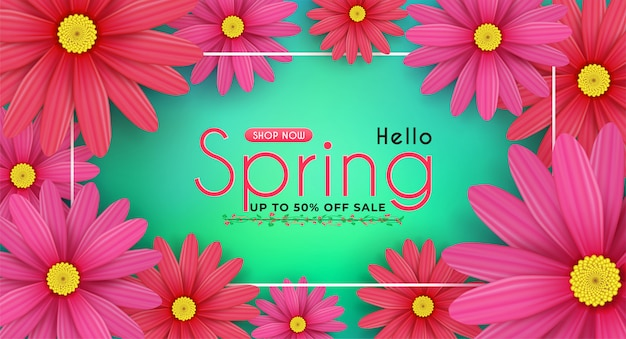 Madeliefjebloemen bloeien in de seizoensgebonden lente. en voor het winkelen korting promotie. en met seizoensgebonden aanbiedingen. Premium Vector