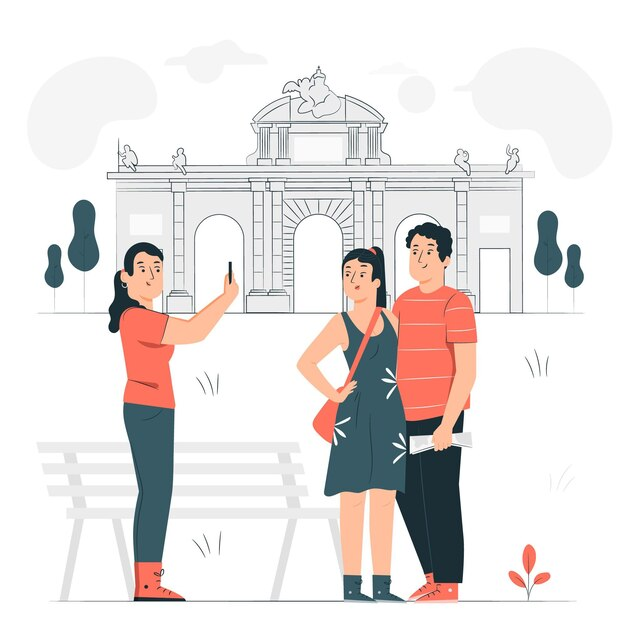 Madrid concept illustratie Gratis Vector
