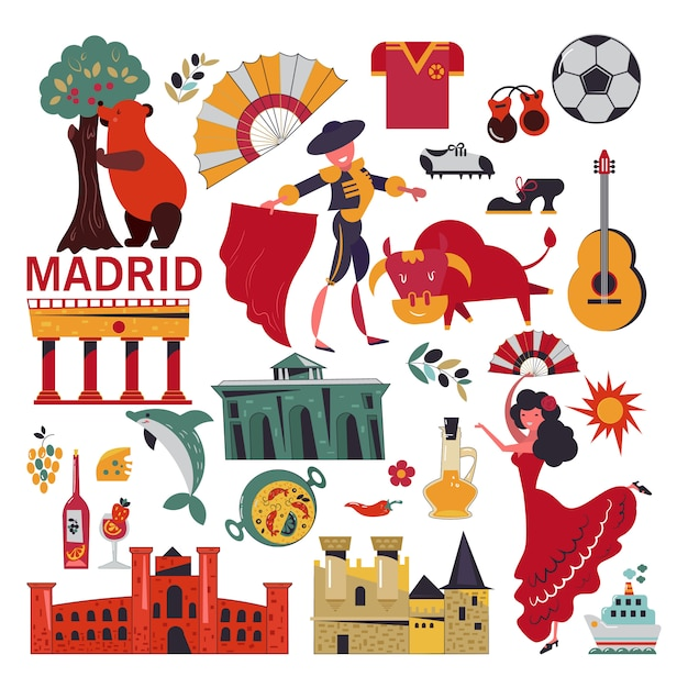 Madrid symbolen set Premium Vector
