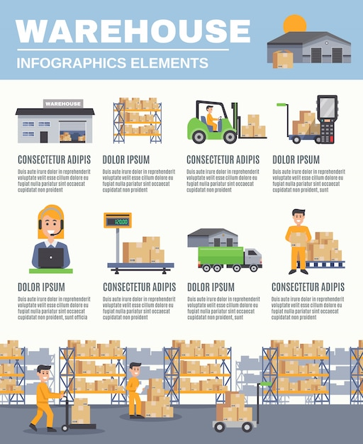 Magazijn infographics lay-out Gratis Vector