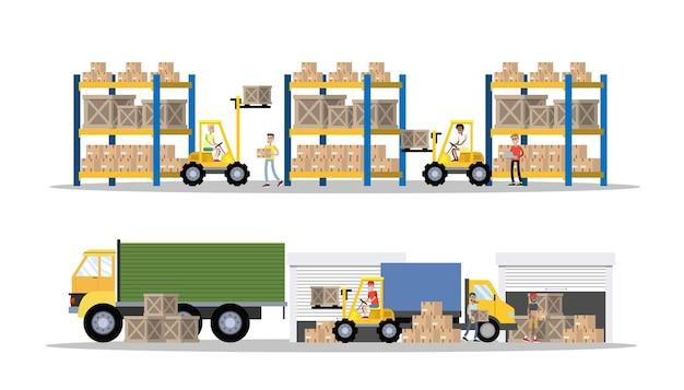 Magazijn of bezorgdienst gebouw interieur met vrachtwagen en heftruck. werknemers met containers en dozen. transportbedrijf met kistenopslag. illustratie Premium Vector