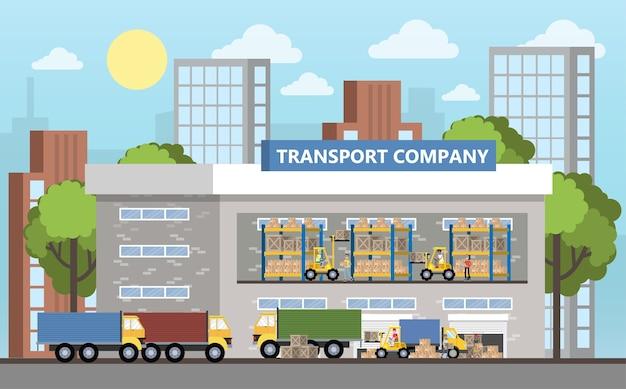 Magazijn of bezorgdienst gebouw interieur. werknemers met containers en dozen. transportbedrijf met kistenopslag. geïsoleerde platte vectorillustratie Premium Vector
