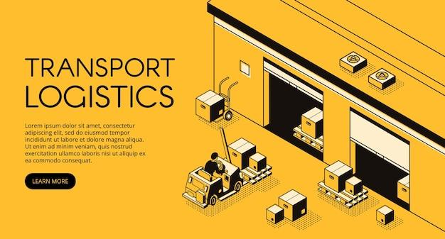 Magazijn transport logistiek illustratie van magazijnmedewerker op loader truck pallet Gratis Vector