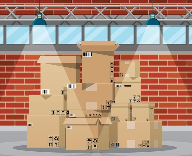 Magazijninterieur met goederen en containerpakketdozen. Premium Vector