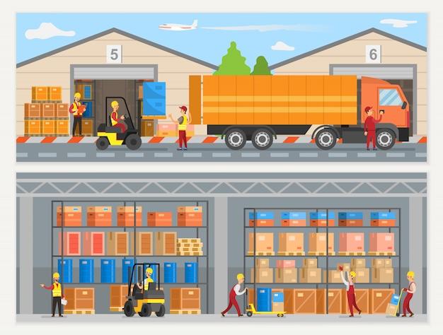Magazijnmedewerkers met dozen en vrachtwagens Premium Vector
