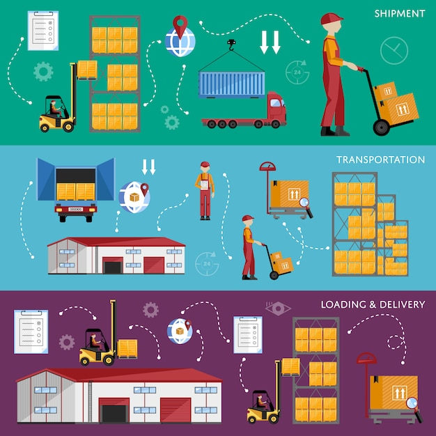 Magazijnproces infographics vier banners. Premium Vector