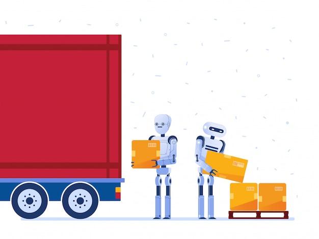 Magazijnrobotarbeiders die vrachtwagen met dozen laden. Premium Vector
