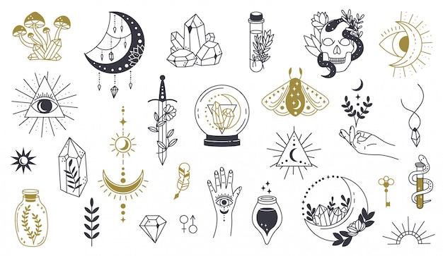 Magic doodle symbool. heks handgetekende magische element, doodle hekserij kristal, schedel, mes, mysterie tattoo schets illustratie iconen set. magie en hekserij, heks esoterische alchemie Premium Vector