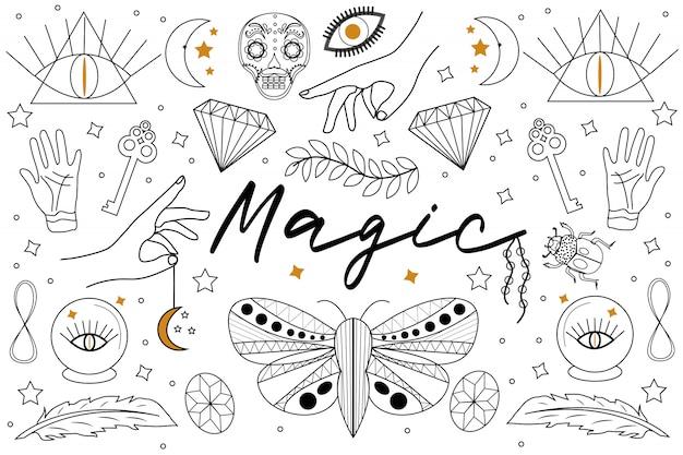 Magic hand getrokken, doodle, schets lijn stijlenset. hekserij symbolen. etnische esoterische collectie met handen, maan, kristallen, plant, oog, handlijnkunde en andere magische elementen. illustratie Premium Vector
