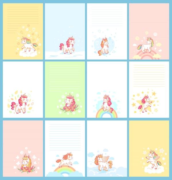 Magic rainbow kleurrijke schattige baby eenhoorn cartoon Premium Vector
