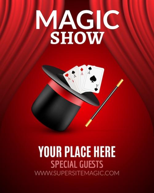 Magic show poster ontwerpsjabloon. magische show flyer ontwerp met magische hoed en gordijnen Premium Vector