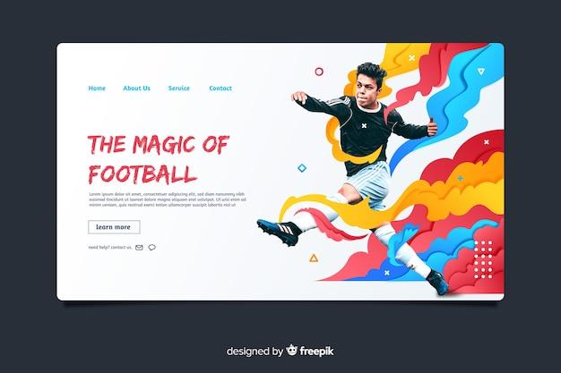 Magie van de landingspagina van de voetbalsport Gratis Vector
