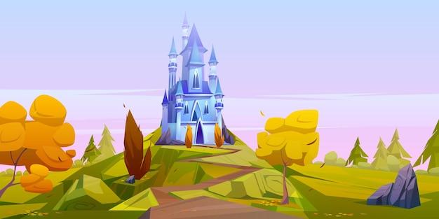 Magisch blauw kasteel op groene heuvel met gele bomen. Gratis Vector