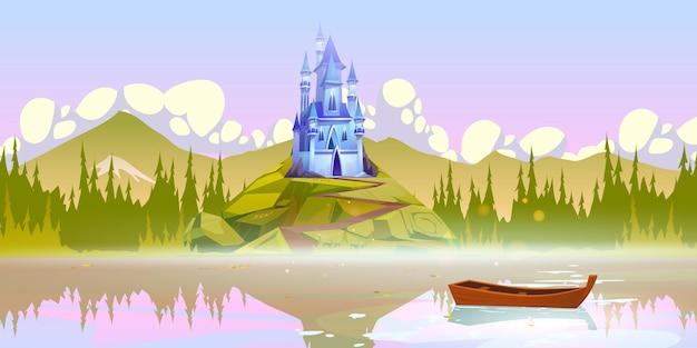 Magisch kasteel op de bergtop in de buurt van rivierpier met boot op wateroppervlak op zomerdag Gratis Vector