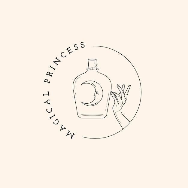 Magisch logo voor fles, maan en hand Premium Vector
