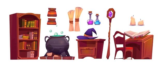 Magisch schoolinterieur met open spreukenboek, papierrol, staf en ketel met drankje Gratis Vector