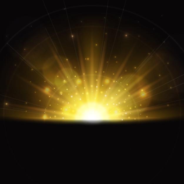 Magisch zonsopganglichteffect Gratis Vector