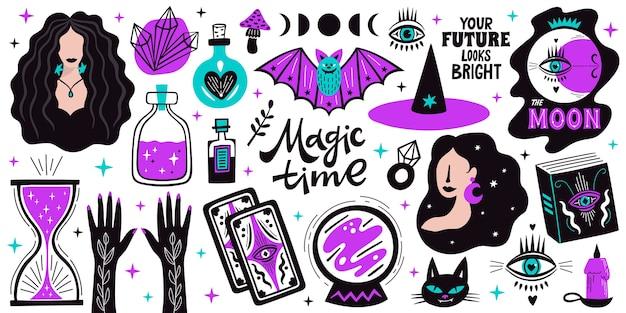 Magische doodle heks illustratie iconen set. magie en hekserij, met esoterische alchemie-elementen. Premium Vector