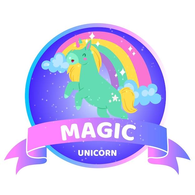 Magische eenhoorn inscriptie, achtergrondinformatie, mooi helder dier, illustratie, op wit. leuk fantasiepaard, regenboogeenhoorn met animatie, gelukkig sprookje. Premium Vector
