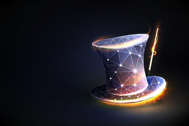 Magische hoed. concept illusionist of show. Premium Vector