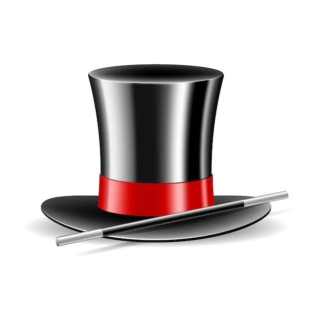Magische hoed en toverstaf op wit wordt geïsoleerd Premium Vector