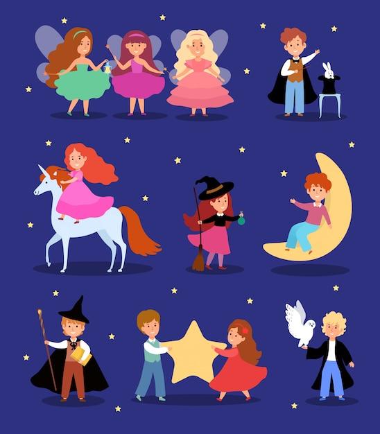 Magische jongen in sprookjesachtige kostuum illustratie, stripfiguur schattig goochelaar kind, fantasie magische kinderen set Premium Vector